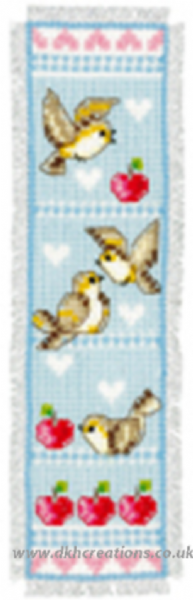 Birds And Apples Blue Bookmark Cross Stitch Kit